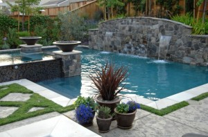 modern partial rectangle pool