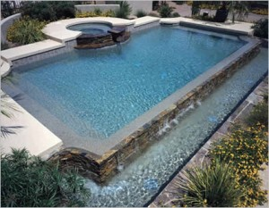 Rectangle Pool With Overflow Spa