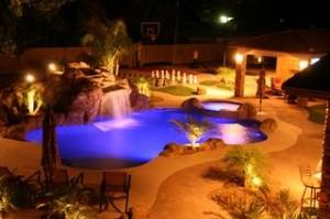 arizona swimming pool with waterfall & lights