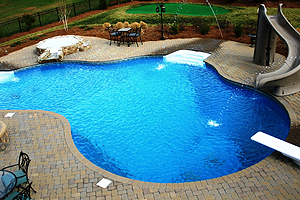 free form shaped vinyl liner pool