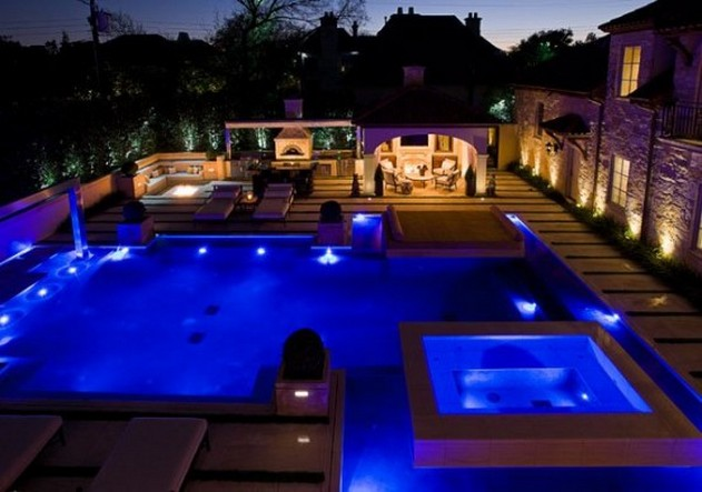 Arizona Swimming Pool With Firepit Amazing Swimming Pool Lighting With Blue Ray  ...
